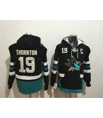 men's san jose sharks joe thornton hockey pullover hoodie jersey