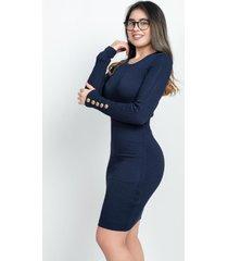 vestido manga larga botones  azul 609 seisceronueve