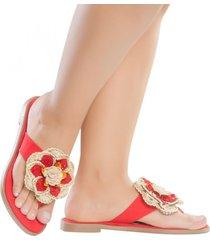 sandalia plana rojo destellos jd5086
