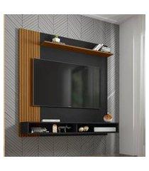 painel oslo para tv até 55 pol móveis bechara 2 nichos preto fosco
