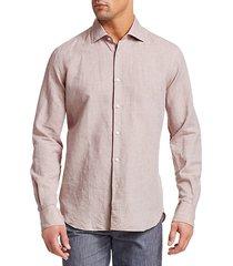 collection long sleeve linen check boucle shirt