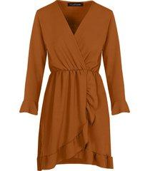 jurk met overslag cognac