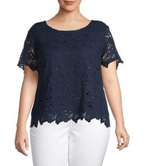 maree pour toi women's lace-overlay cotton top - navy - size 18