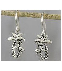 sterling silver dangle earrings, 'paradise palms' (thailand)