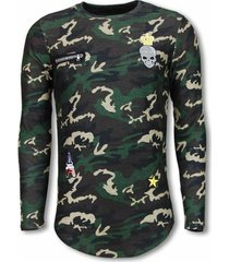 sweater justing king of army shirt- long fit sweater - camouflage
