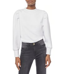 women's frame shirred shoulder sweatshirt, size x-small - white