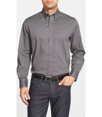 men's nordstrom men's shop smartcare(tm) traditional fit twill boat shirt, size small - grey