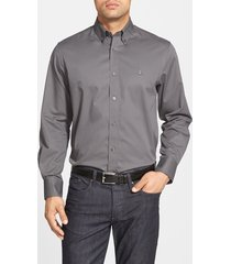 men's big & tall nordstrom men's shop smartcare(tm) traditional fit twill boat shirt, size lt - grey
