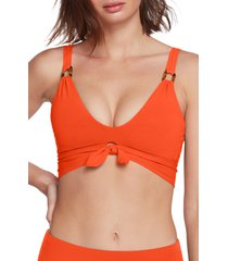 women's robin piccone hailey twist-front bikini top, size large - orange