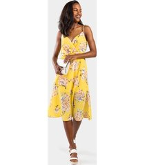 carlina floral surplice dress - yellow