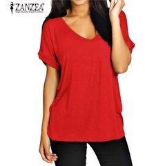 zanzea moda verano t camisas manga corta nueva floja ocasional tes de las tapas más el tamaño de cuello en v camisetas -vino rojo