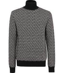 balmain high collar monogram wool linen pullover