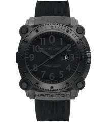 men's hamilton khaki belowzero automatic rubber strap watch, 46mm