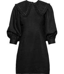 light linen korte jurk zwart ganni