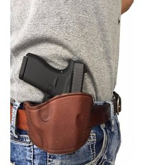 leather belt gun holster for smith & wession shield (9mm) right hand draw