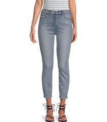 7 for all mankind women's high-waist foil-print ankle skinny jeans - aspen foil - size 26 (2-4)