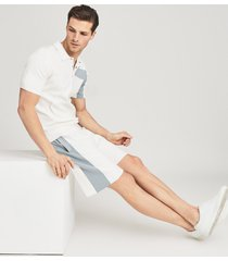 reiss ronan - jersey shorts with panel detailing in white, mens, size l