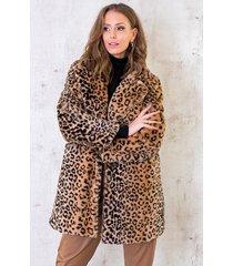 faux fur jas panterprint camel