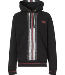 burberry monogram stripe panel hoodie - black
