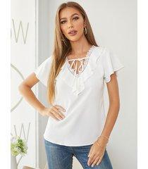 blusa de manga corta con cuello en v y diseño de lazo de yoins