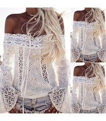 vestido de verano para mujer camisetas de encaje bordado blanco-blanco