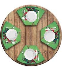 jogo americano   para mesa redonda wevans cute noel green  love decor