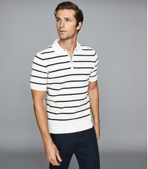 reiss andrew - striped zip neck polo shirt in white/navy, mens, size xxl