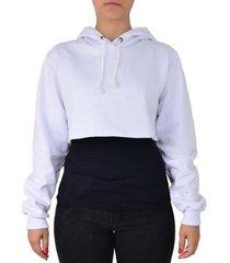 moletom feminino top cropped liso capuz conforto - feminino