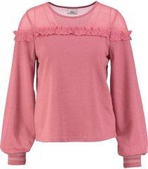 only kortere sweater met transparante stof bovenaan