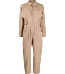 stella mccartney buckle-embellished cargo jumpsuit - neutrals