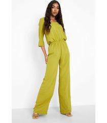 tall wide leg jumpsuit met driekwartsmouwen en lage ronde hals, chartreuse