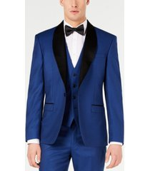 ryan seacrest distinction men's slim-fit stretch cobalt blue shawl lapel tuxedo jacket, created for macy's