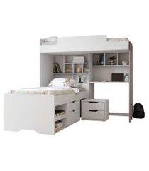 módulo office new c/cama e mesa de cabeceira 02 gavetas santos andirá branco