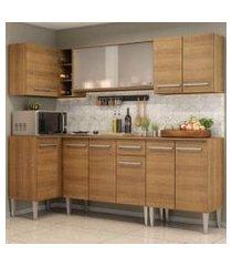cozinha completa de canto madesa emilly point com balcão e armário vidro rustic rustic