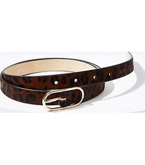 loft leopard print haircalf oval buckle belt