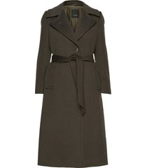 cashmere coat w - clareta belt yllerock rock grön sand