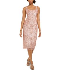 adrianna papell embellished midi sheath dress