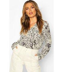 leopard print utility woven blouse, stone