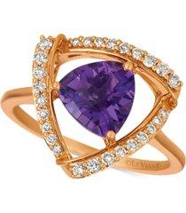 le vian grape amethyst (1-5/8 ct. t.w.) & vanilla diamond (1/4 ct. t.w.) statement ring in 14k rose gold