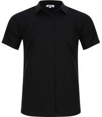 camisa unicolor cuello mini color negro, talla l