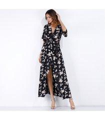 vestido de gasa floral de manga corta con cuello en v para mujer