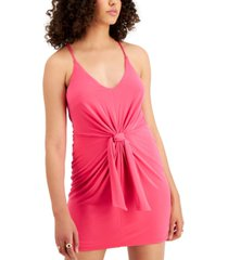 bar iii tie-front knit dress, created for macy's