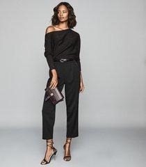 reiss maria - metallic asymmetric top in chocolate, womens, size xxl