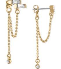 rachel rachel roy gold-tone crystal baguette & chain-loop front-and-back earrings