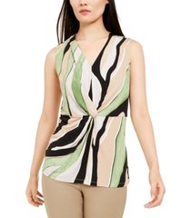alfani petite printed twist-front sleeveless top, created for macy's