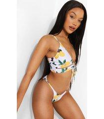 korte citroenen bikini top met strik en uitsnijding, white