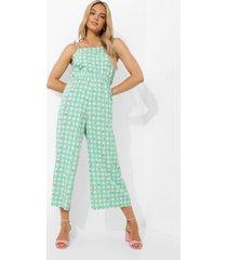 gingham bloemen culotte jumpsuit met ceintuur, green