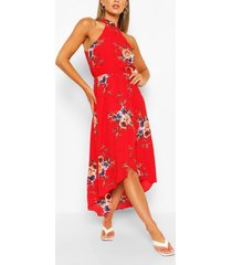 gebloemde bodycon-midi-jurk, rood