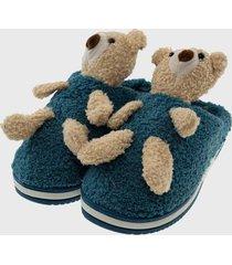pantufla mujer teddy azul turquesa oscuro topsoc