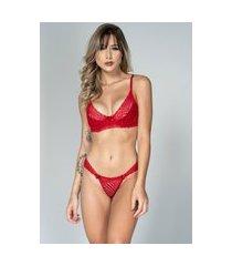 conjunto feminino lingerie serra e mar modas com renda e aro vermelho